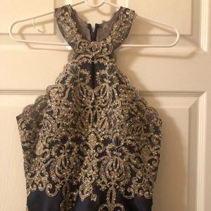Gold & Navy Blue party dress